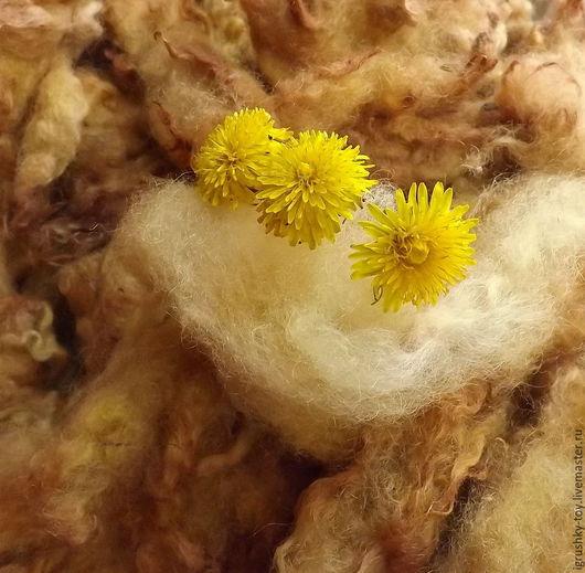 шерсть овечья окрашенная, шерсть мытая, шерсть овечья для валяния, шерсть овечья желтая, природное крашение, шерсть для прядения, темно-желтая с оранжевым шерсть
