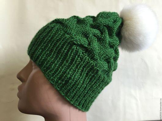 Шарфы и шарфики ручной работы. Ярмарка Мастеров - ручная работа. Купить Зимний комплект шапка с шарфом. Handmade. Зеленый