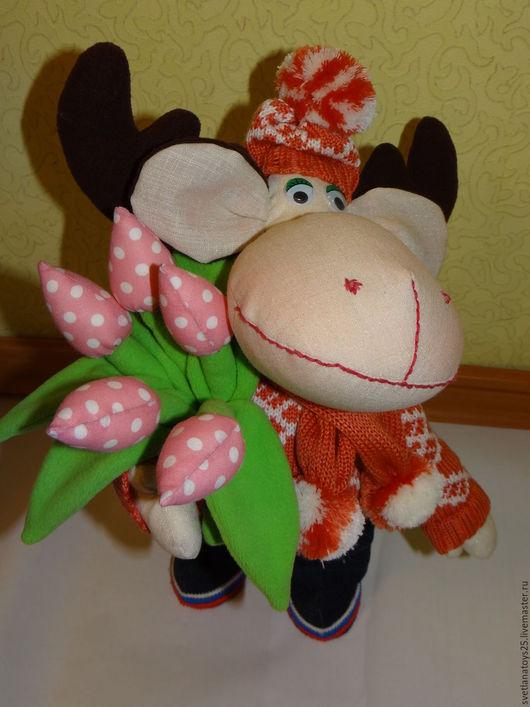 Тильда лось. лось в стиле Тильда. Интерьерная игрушка. Интерьерная кукла. Оригинальный подарок. Текстильная игрушка.