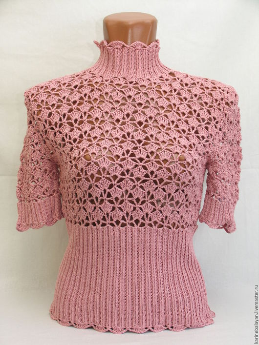 Блузки ручной работы. Ярмарка Мастеров - ручная работа. Купить Розовый лучик. Handmade. Розовый, ажурная вязка, вязанная