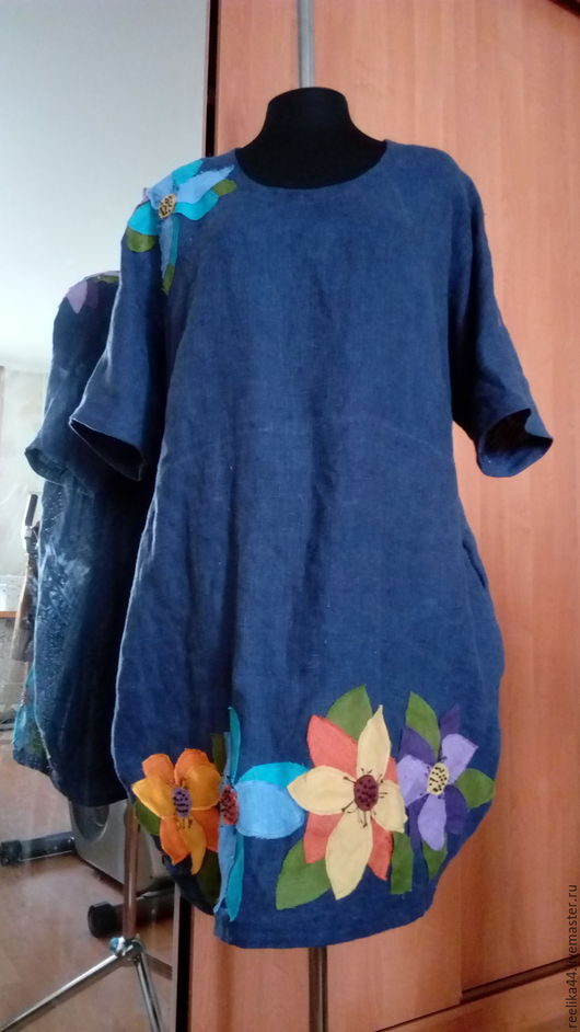 """Большие размеры ручной работы. Ярмарка Мастеров - ручная работа. Купить Платье кокон изо льна """" Цветы"""". Handmade."""