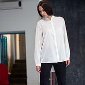 Одежда handmade. Livemaster - original item Silk blouse white. Blouse made of silk. Handmade.