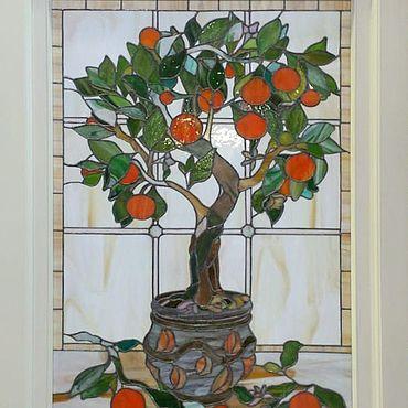 Для дома и интерьера ручной работы. Ярмарка Мастеров - ручная работа Витраж Мандариновое дерево. Handmade.