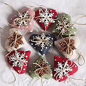 Christmas decorations handmade. Livemaster - original item Set of 3 hearts pendants.. Handmade.