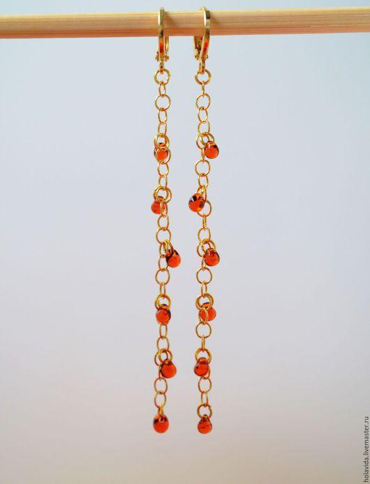 Серьги ручной работы. Ярмарка Мастеров - ручная работа. Купить Серьги Янтарные капли. Handmade. Янтарный, медовый цвет, осенний