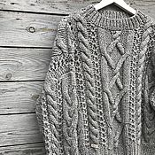 Одежда handmade. Livemaster - original item Jerseys: Women`s hand-knitted sweater with braids in gray. Handmade.