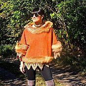 Одежда ручной работы. Ярмарка Мастеров - ручная работа Пончо (свитер, куртка, пальто) из натуральной кожи с мехом лисы (№353). Handmade.