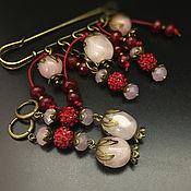 Украшения handmade. Livemaster - original item Brooch - pin and earrings Carmen with rose quartz. Handmade.