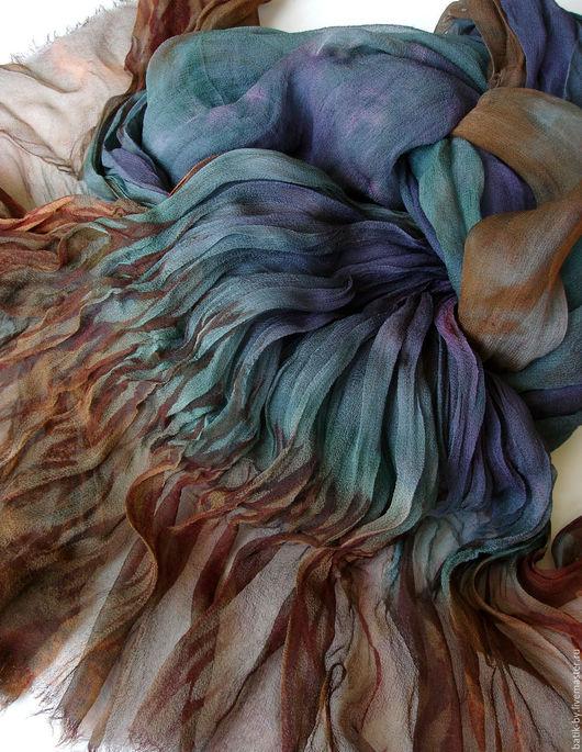 Шали, палантины ручной работы. Ярмарка Мастеров - ручная работа. Купить «Синий Бохо» шарф шелк 100% ручное крашение. Handmade.