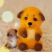 Куклы и игрушки handmade. Livemaster - original item Felt toy: a fox cub and a mouse. Handmade.