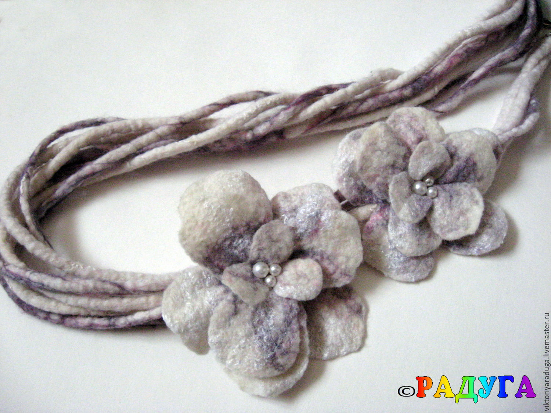 Scarf-necklace 'Gentle grey' - felt, Necklace, Slavsk,  Фото №1