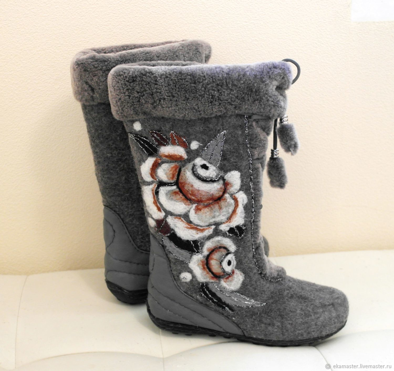 Boots 'rose in frost' high, Felt boots, Ekaterinburg,  Фото №1
