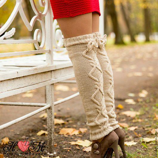 Носки, Чулки ручной работы. Ярмарка Мастеров - ручная работа. Купить Гетры. Handmade. Бежевый, гетры, гетры для зимы