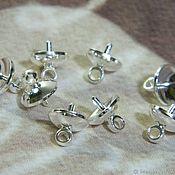 Материалы для творчества handmade. Livemaster - original item Caps for gluing, with a loop for beads silver rhodium. Handmade.