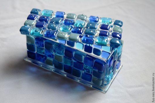 Шкатулки ручной работы. Ярмарка Мастеров - ручная работа. Купить Шкатулка Синее-синее море Фьюзинг. Handmade. Синий