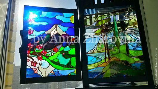 Витражный фонарик `Японский пейзаж`. Ручная работа. Жаровина Анна