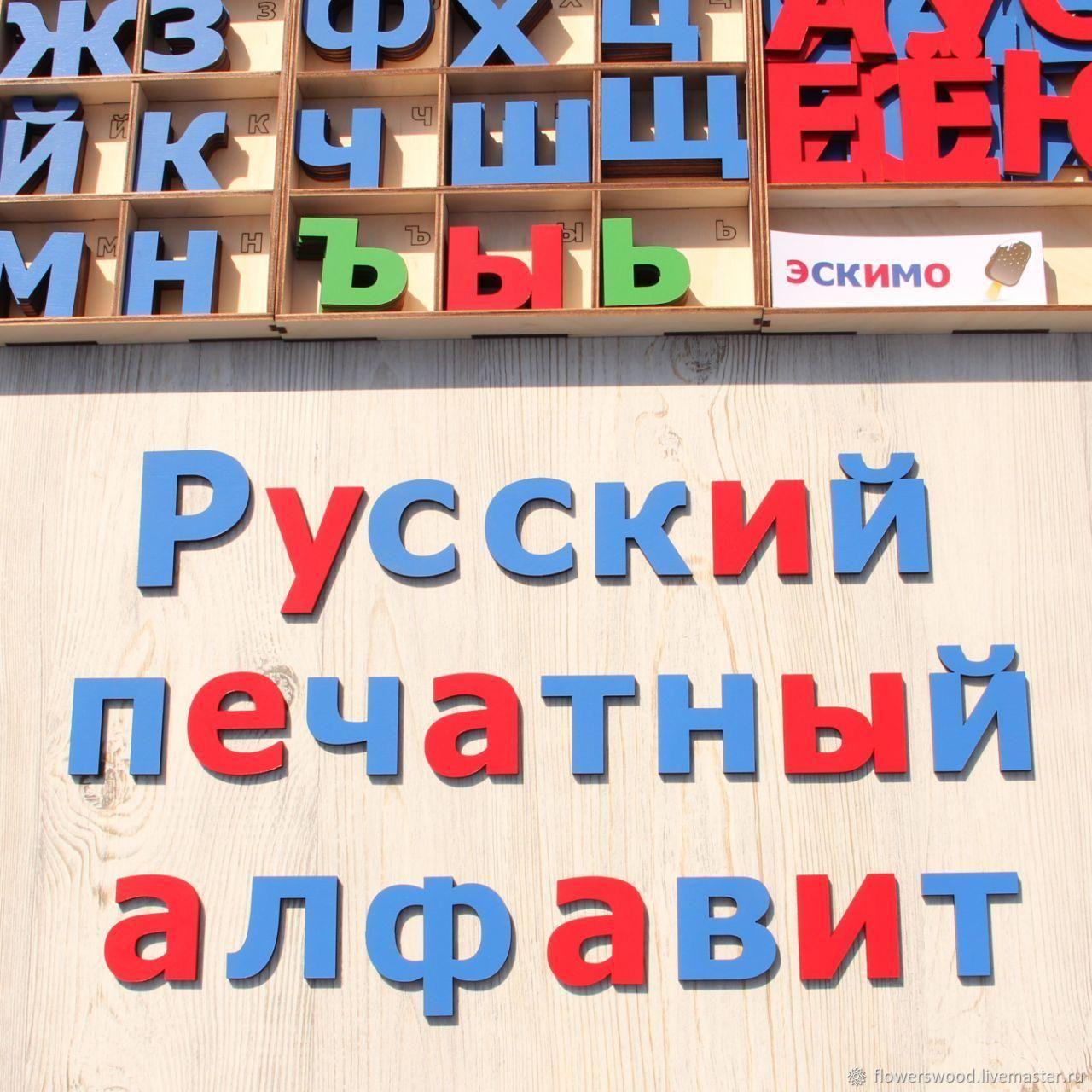 Русский печатный алфавит из дерева, Игровые наборы, Воронеж,  Фото №1