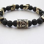 Украшения handmade. Livemaster - original item Bracelet of natural stone beads in bronze. Handmade.