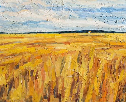 Картина масло пейзаж поле Ощущение лета Русское поле пшеничное поле Золотое поле маслом Яркая картина в подарок Картина лето пейзаж