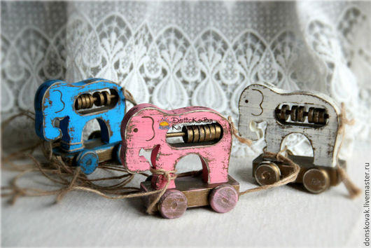 Развивающие игрушки ручной работы. Ярмарка Мастеров - ручная работа. Купить Деревянный ретро-слоник (Каталка, счеты). Handmade. Бирюзовый