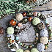"""Бусы """"Запах леса"""" с натуральными камнями"""