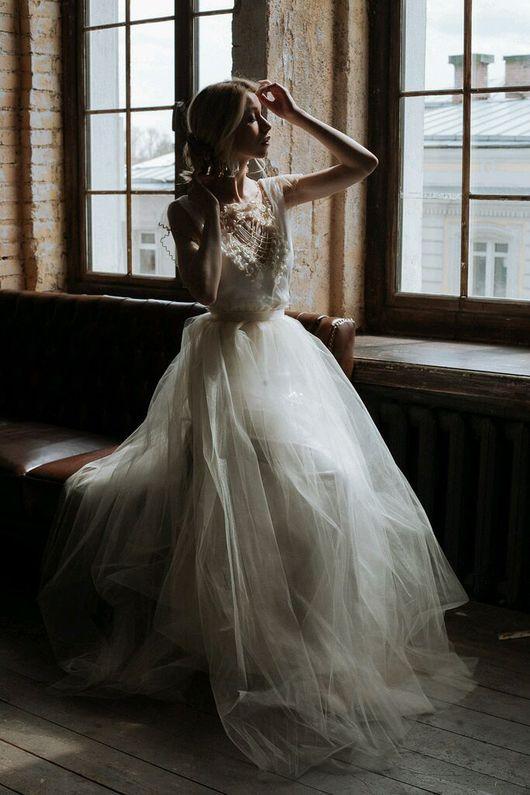 Одежда и аксессуары ручной работы. Ярмарка Мастеров - ручная работа. Купить Свадебное платье с вышивкой. Handmade. Свадебное платье, бисер