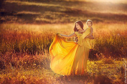 Платья ручной работы. Ярмарка Мастеров - ручная работа. Купить Желтый family look (парные платья для мамы и дочки). Handmade.