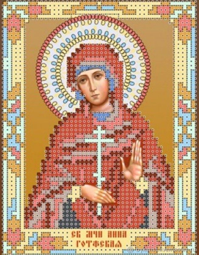 St. MCH.Anna Of The Goths.Scheme for embroidery. bead, Patterns for embroidery, Schyolkovo,  Фото №1