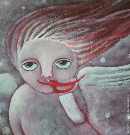 Фантазийные сюжеты ручной работы. Ярмарка Мастеров - ручная работа. Купить Картина  Яблочко-2   ребенок   полет ангел. Handmade.