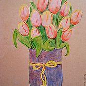 """Картины и панно ручной работы. Ярмарка Мастеров - ручная работа Картина карандаши  """"Tulips"""". Handmade."""