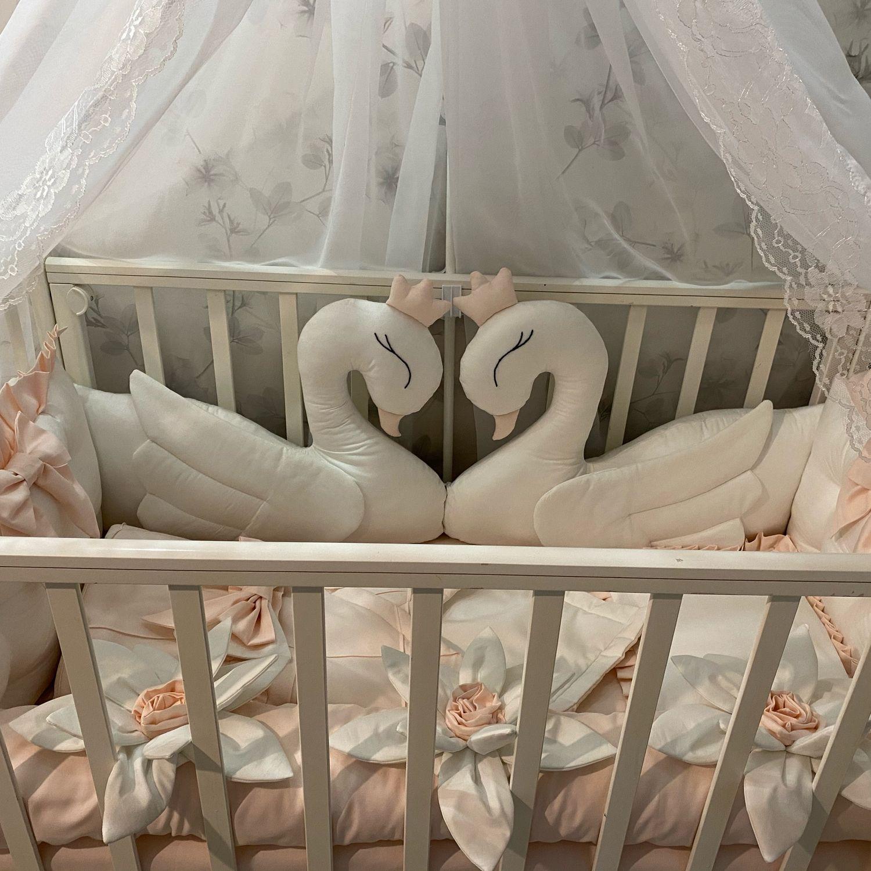 Комплект в кроватку Премиум (бортики одеяло простынь балдахин подушка), Детское постельное белье, Москва,  Фото №1