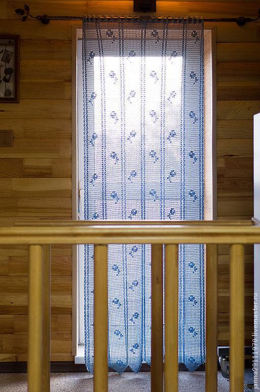 Текстиль, ковры ручной работы. Ярмарка Мастеров - ручная работа. Купить Занавеска длинная с фестонным краем. Handmade. Голубой