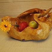 Ваза для фруктов с ручкой (поднос) из березового капа (сувеля) Лебедь