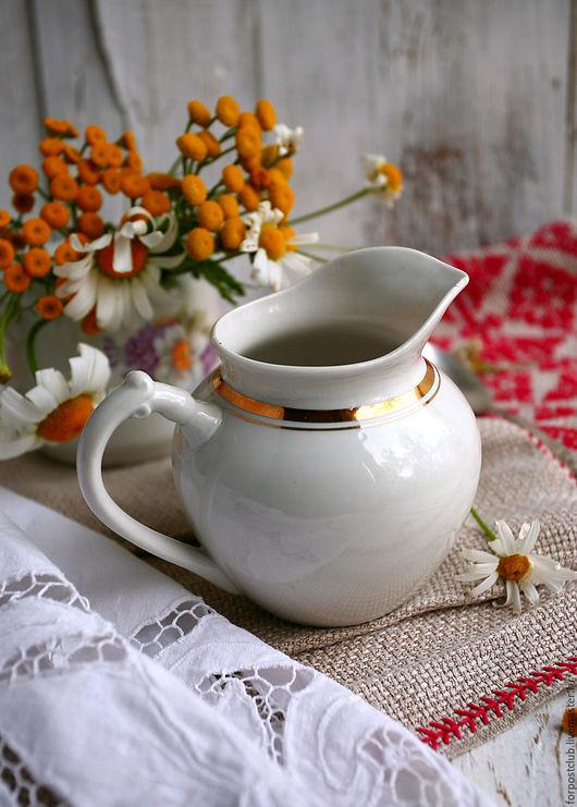 Винтажная посуда. Ярмарка Мастеров - ручная работа. Купить Молочник белый с золотом Дулево. Handmade. Белый, продаю, ретро, молочник