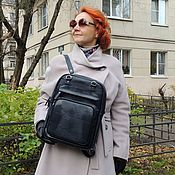 Сумки и аксессуары handmade. Livemaster - original item Backpacks: Women`s leather backpack bag blue Stacy Mod SR83-961. Handmade.