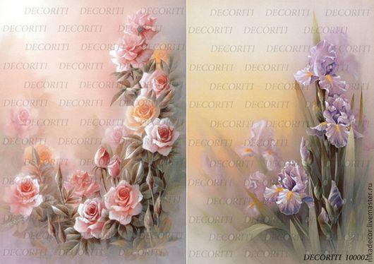 Декупаж и роспись ручной работы. Ярмарка Мастеров - ручная работа. Купить Акварельные розы и ирисы (D100002) - рисовая бумага, А4. Handmade.
