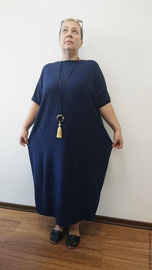 Платья ручной работы. Ярмарка Мастеров - ручная работа. Купить платье трикотажное бохо. Handmade. Тёмно-синий, платье бохо