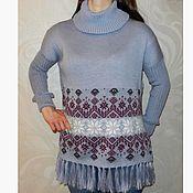 Одежда ручной работы. Ярмарка Мастеров - ручная работа Вязаный свитер оверсайз (пончо) с норвежским орнаментом Звездопад. Handmade.