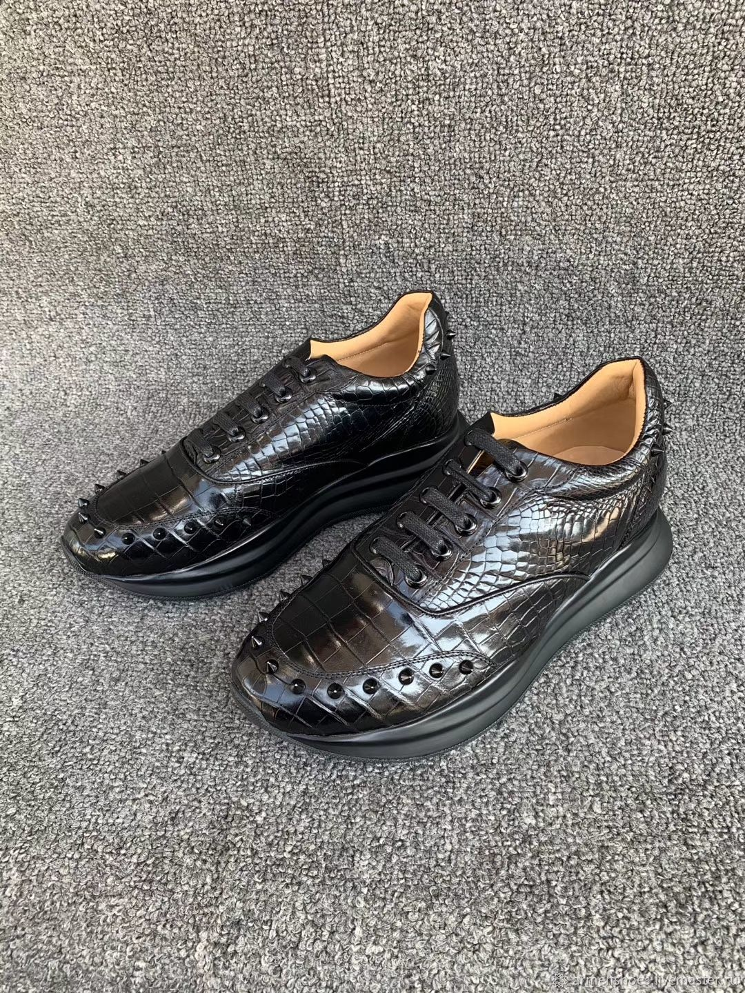 Women's sneakers, made of genuine crocodile leather, in black!, Sneakers, Tosno,  Фото №1