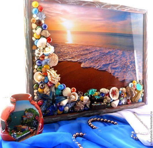"""Пейзаж ручной работы. Ярмарка Мастеров - ручная работа. Купить """"Остров сокровищ"""". Handmade. Синий, море, пляж, декоративные элементы"""