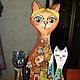 Игрушки животные, ручной работы. Кошка с котятами. каморка ПАПЫ КАРЛО  Е. Строгановой. Интернет-магазин Ярмарка Мастеров. Коты