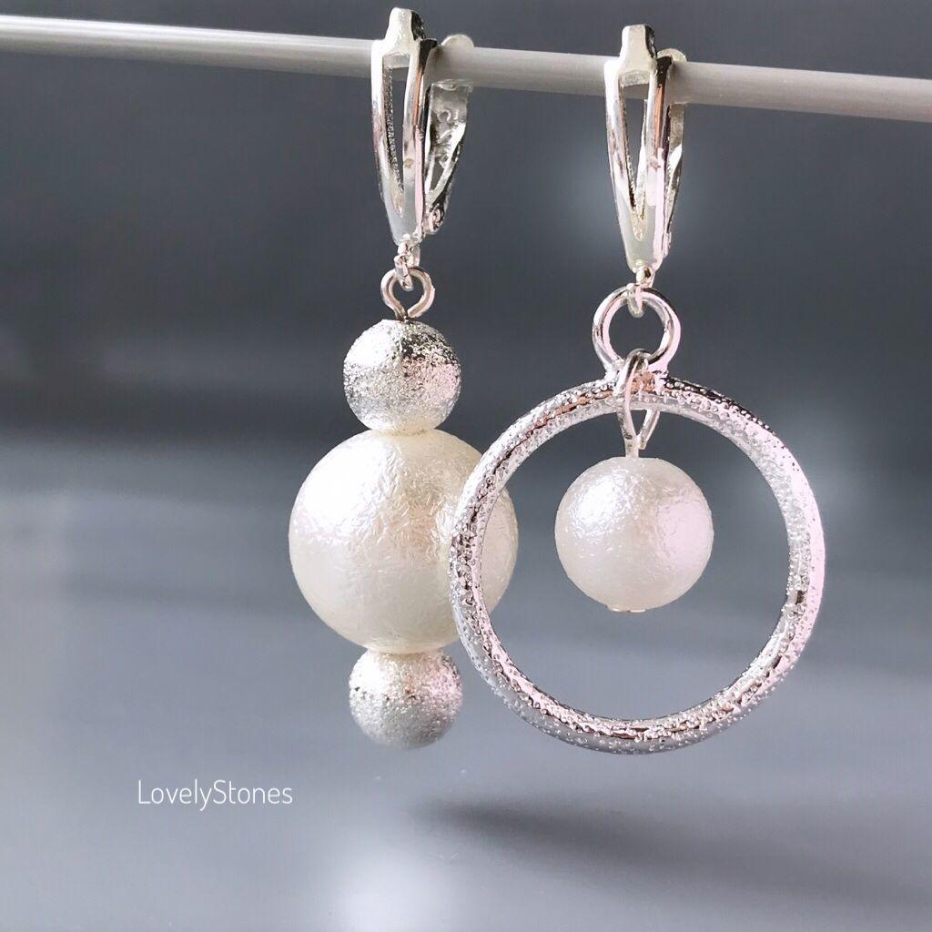 Earrings asymmetrical different dairy output stylish earrings beautiful, Earrings, Yaroslavl,  Фото №1