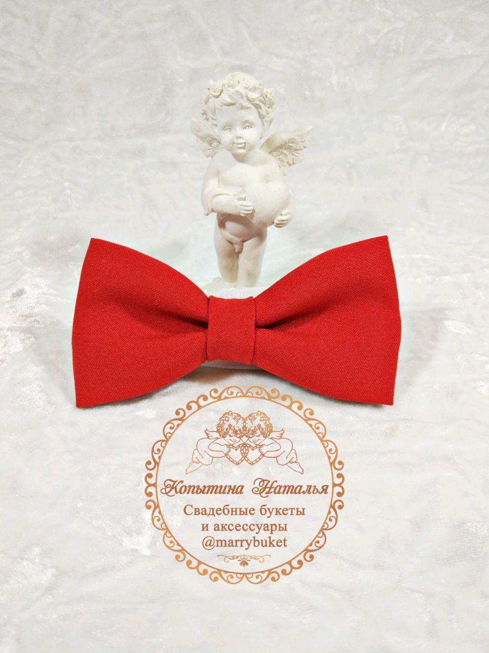 Red bow tie for groom handmade, Butterflies, St. Petersburg,  Фото №1