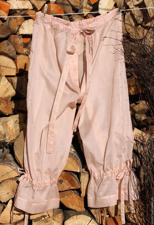 Белье ручной работы. Ярмарка Мастеров - ручная работа. Купить Панталоны розовые из хлопка с шелком.. Handmade. Бледно-розовый, полупрозрачный