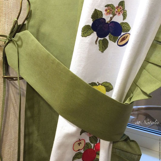 Текстиль, ковры ручной работы. Ярмарка Мастеров - ручная работа. Купить Льняные шторы с вышивкой Villeroy & Boch French Garden. Handmade.