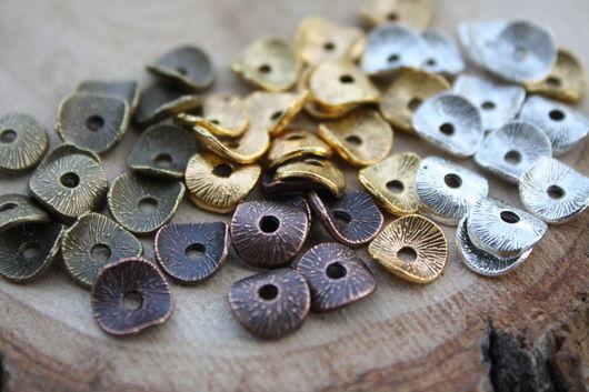 Для украшений ручной работы. Ярмарка Мастеров - ручная работа. Купить Сахарные чипсы   8 мм, 3 цвета медь, золото. серебро. Handmade.