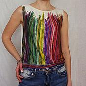 Одежда ручной работы. Ярмарка Мастеров - ручная работа Топ из трикотажа радужный. Handmade.
