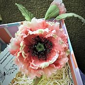 Украшения handmade. Livemaster - original item Silk flowers.Poppy silk