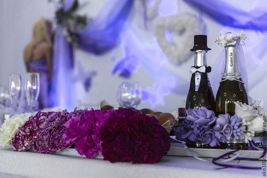 Свадебные аксессуары ручной работы. Ярмарка Мастеров - ручная работа. Купить Украшение для свадебных бутылок. Handmade. Свадьба, свадебное шампанское