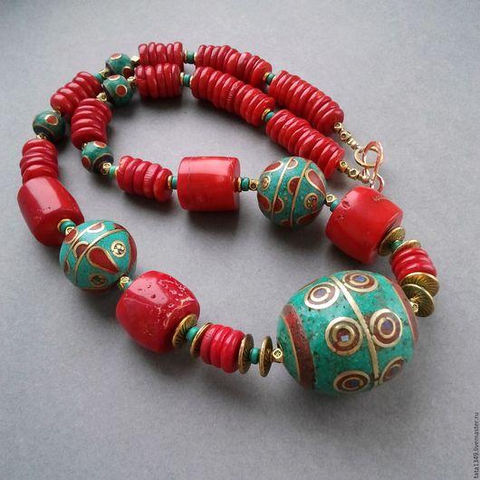 """Колье, бусы ручной работы. Ярмарка Мастеров - ручная работа. Купить Колье   """"Яркий Непал"""". Handmade. Ярко-красный"""